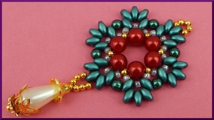 DIY | Perlen Ketten Anhänger | Beaded pendant with twin beads | Beadwork...