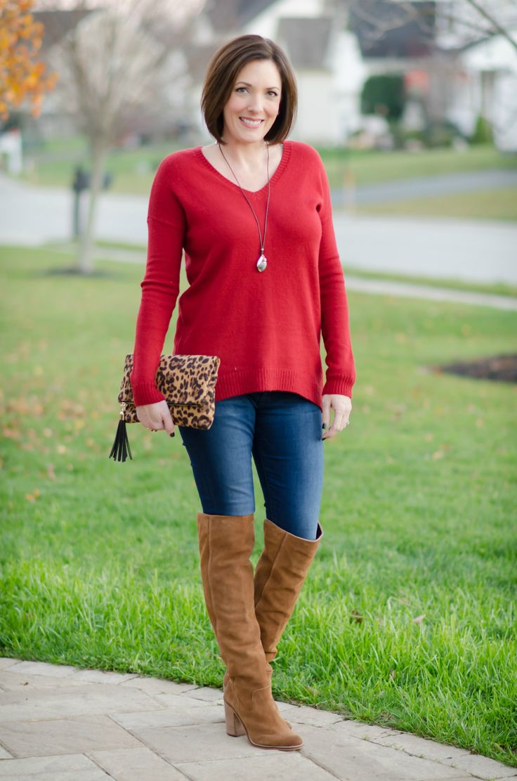 dinner with friends red sweater | Casual Dinner Outfit: Split Back Boyfriend Sweater + OTK Boots