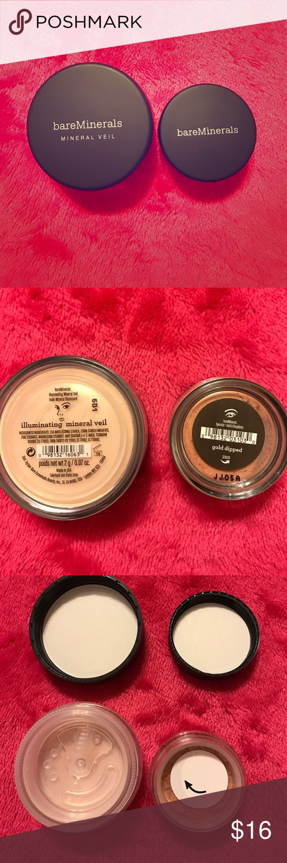 """BareMinerals Duo BareMinerals Duo. Illuminating Mineral Veil (.07 oz) and Eyeshadow in """"Gold Dipped"""" (.02 oz). Both are brand new and sealed. See pictures for more details. Price firm unless bundled. bareMinerals Makeup"""