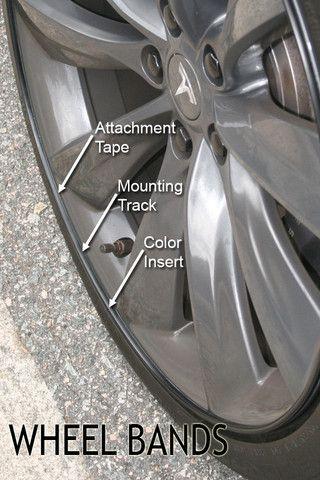 Tesl Model S black wheel bands