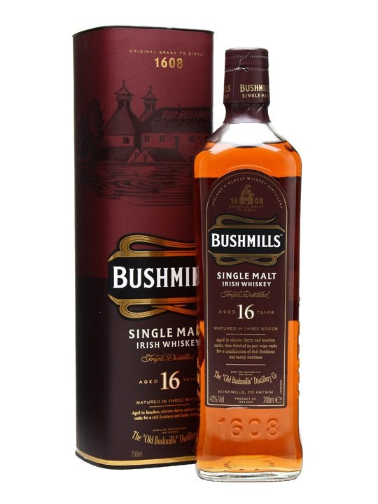 Bushmills 16 Year Old / Three Wood : Matured in three different types of cask. Irish Whiskey