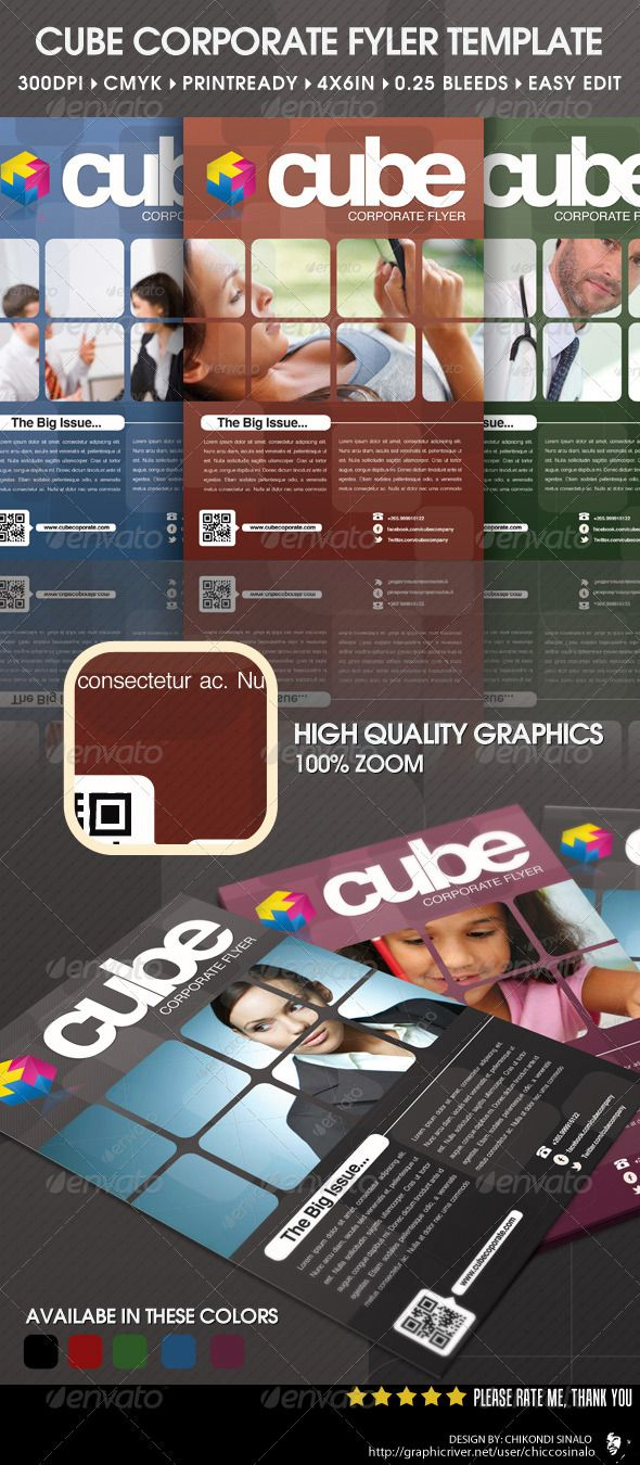 Poster design with qr code - Cube Corporate Flyer Template
