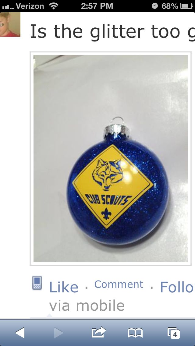 Cub Scout ornaments made with silhouette