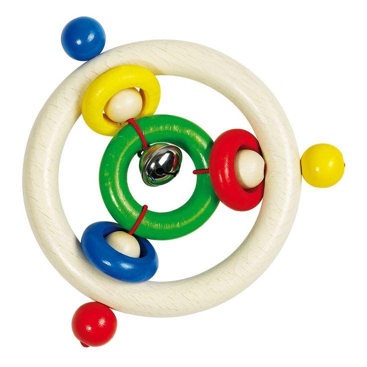 Bijtring 5 ringen en een belletje  Deze / rammelaar, van uitstekende kwaliteit, zal uw baby uren vermaken. De bijtring is ideaal om mee te schudden, aan te raken, op te kauwen en voor vermaak, maar bovenal is de bijtring een streling voor ieders oog.  Geschikt voor 3 maanden+