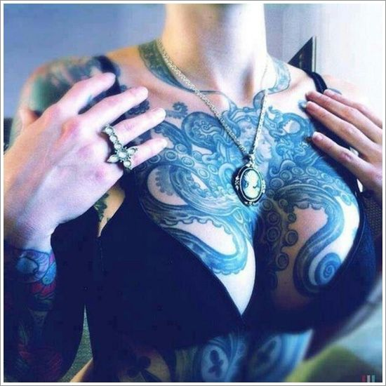 Amazing octopus chest tattoo. Great fit covering scars. Beautiful idea for a mastectomy tattoo ( p-ink.org )