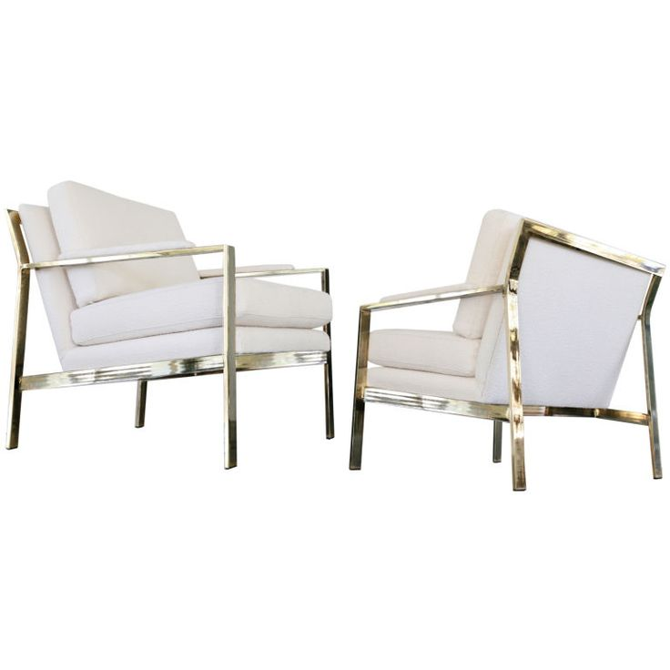 Pair of Brass Milo Baughman Cream Nubby Arm ChairsLounges Chairs, Baughman Chairs, Chairs Fetish, Milochairswhitejpg 768480, Arm Chairs, Milo Baughman, Vintage Furniture, July 2011, Brass Milo