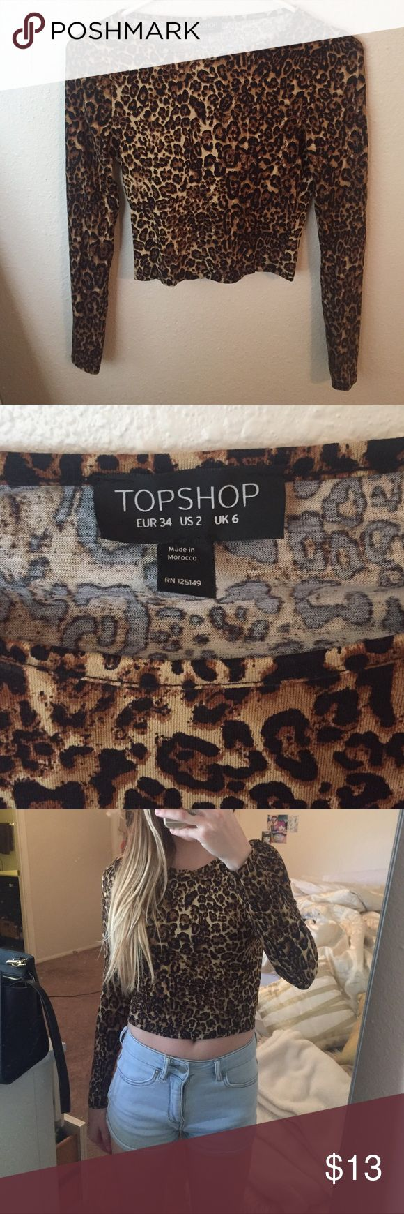 Cheetah Print Shirt🐾 Super cute cheetah Print Shirt! Is made with super soft material, long sleeves, and is slightly cropped! Definitely true to size! Size is in comparison to an XS. Never worn. ‼️BUNDLE and save 15%‼️ Topshop Tops Tees - Long Sleeve