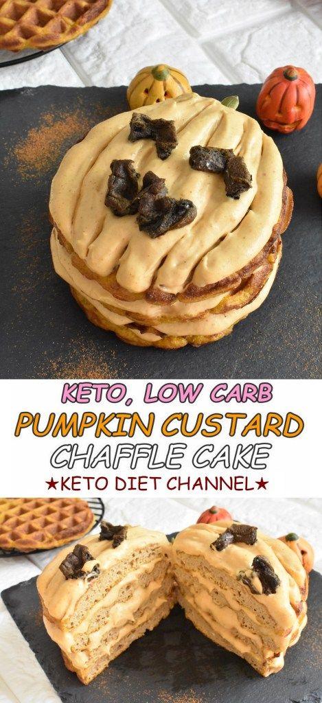 Keto Pumpkin Custard Chaffle Cake / Low Carb / Gluten Free / Sugar Free