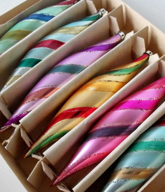 I have these....Set of 6 beautiful vintage striped teardrop Christmas by oodles