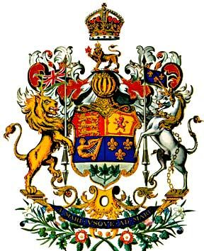 The Coat of Arms of Canada as depicted in 1923. The Royal Arms were adopted by proclamation of King George V on November 21, 1921.