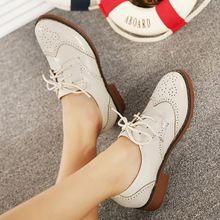Nueva primavera 2015 zapatos de plataforma oxford para mujer de cuero punta redonda oxfords trabajo para para brogue lace up zapatos(China (Mainland))