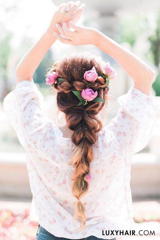 Luxy Hair Dreamy big braids with Ombre Blonde Wedding Hairstyle - Deer Pearl Flowers / http://www.deerpearlflowers.com/wedding-hairstyle-inspiration/luxy-hair-dreamy-big-braids-with-ombre-blonde-wedding-hairstyle/