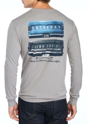Saturday Down South Men's Long Sleeve Pocket Tee Gates Of Glory - Gray - 2Xl