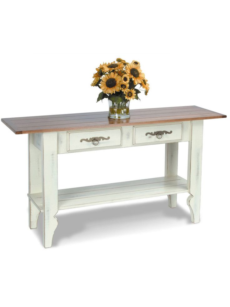 The Sheffield Sofa Table Is A Traditional Country Table With Its  Plank Style Top And Shelf. Find This Pin And More On Cottage White Coffee  ...