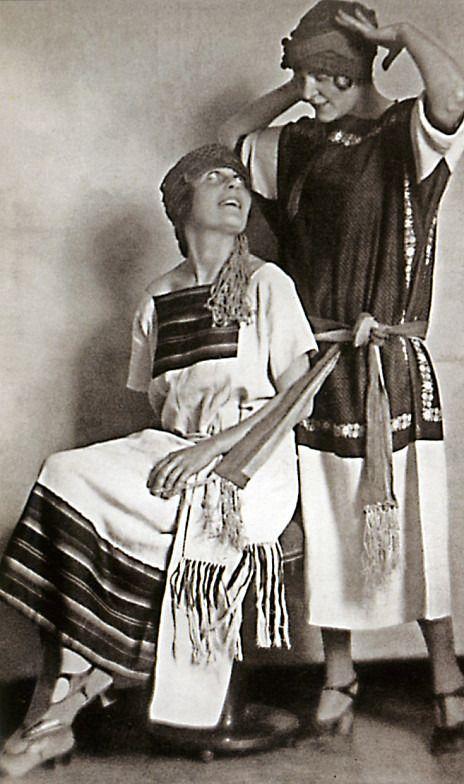 Dress based on folk costume (1919-1925) Lilya Brik and Elsa Triolet (Lily's sister)