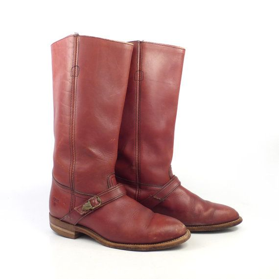 Vintage Flat Whiskey Brown Leather Boots circa 1980s Maker Frye Made in USA Marked Womens Size 7 1/2 B Pull on Measures 10.75 inches heel to toe outer sole 3.75 inches across ball of foot 13 inches high at tallest (does not include 1 inch heel) 14 inches around calf In good