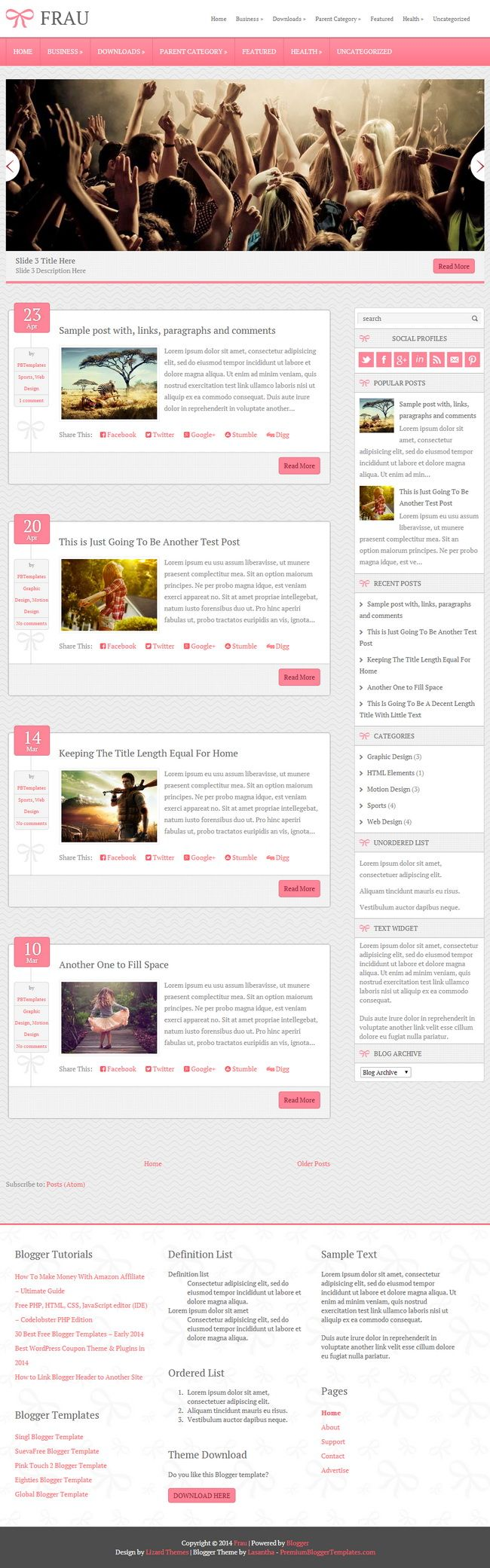 Frau Blogger Template: Frau Is A Beautiful, Pink Colour Blogger Template  With 2 Columns