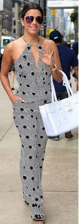 Eva Longoria: Jumpsuit – Diane von Furstenberg  Sunglasses – Victoria Beckham  Purse – the Great Bag Company