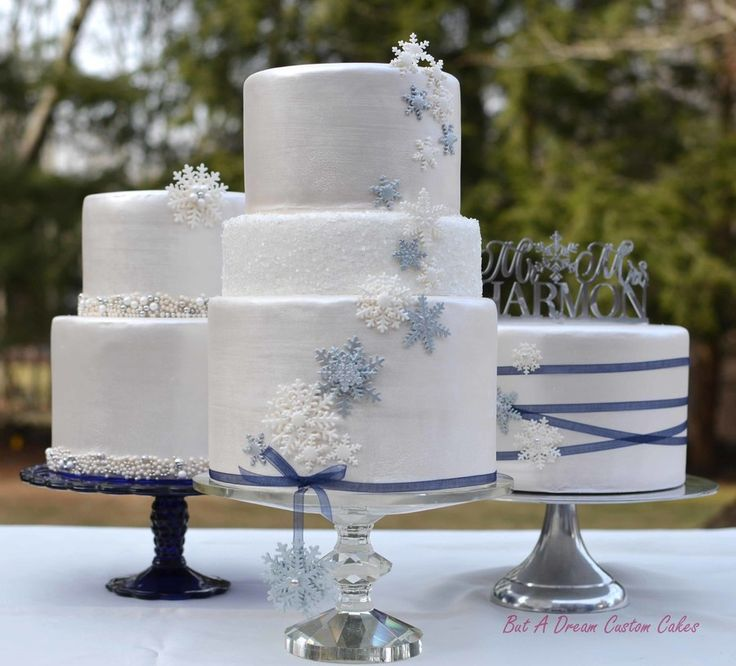 Winter wedding cake trio.