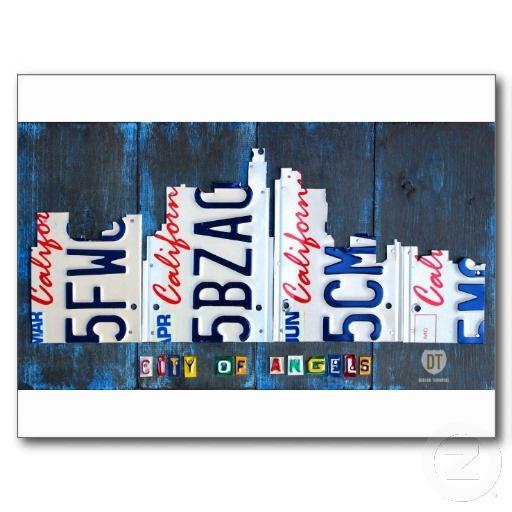 Los Angeles California Skyline License Plate Art Postcards by Design Turnpike.