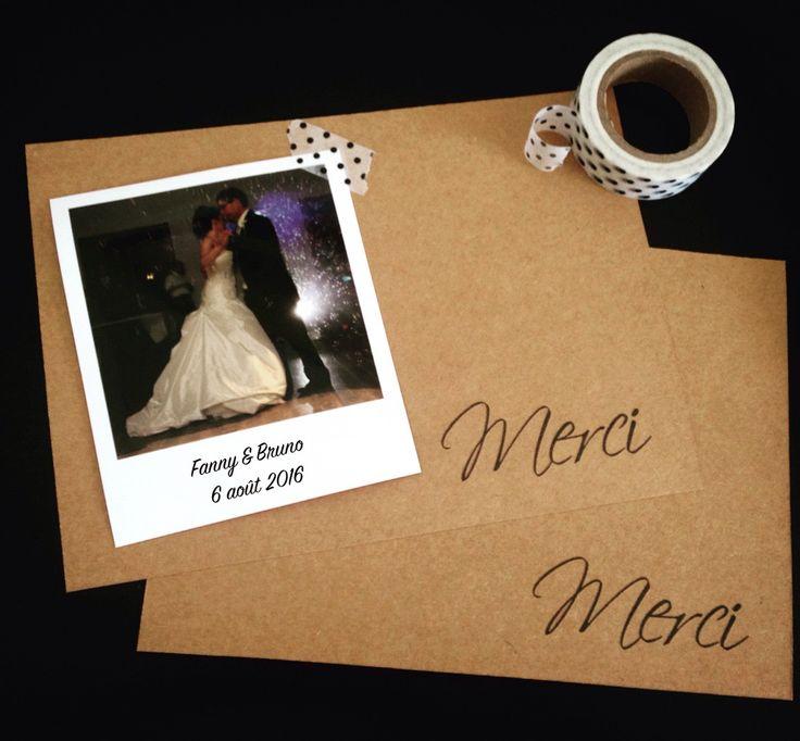 carte de remerciement mariage esprit vintage par crea graphic - Montage Photo Remerciement Mariage