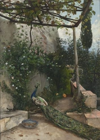 Terrace in the Alhambra with peacock   Hugo Birger   1884   Nationalmuseum, Sweden   CC BY-SA