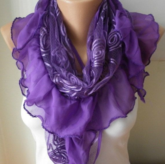 ON SALE - Purple  Shawl  Scarf  -   Cowl Scarf Lace Scarf  fatwoman bridesmaid gifts