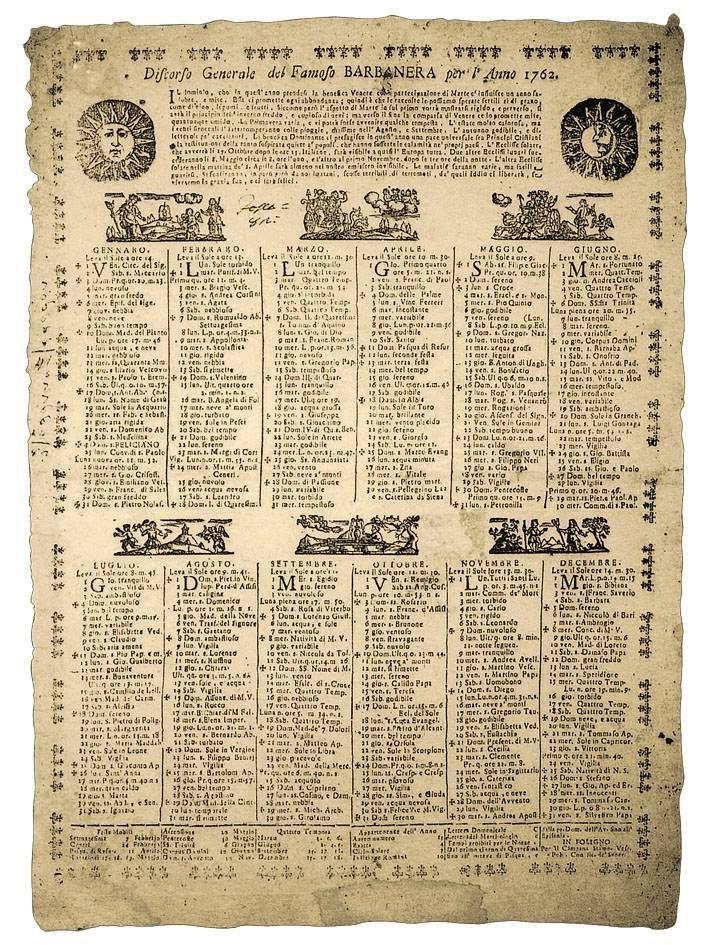 Era il 1762 e per la prima volta veniva dato alle stampe il Lunario in unico foglio del 'famoso' (si, perché famoso lo era già) Barbanera.