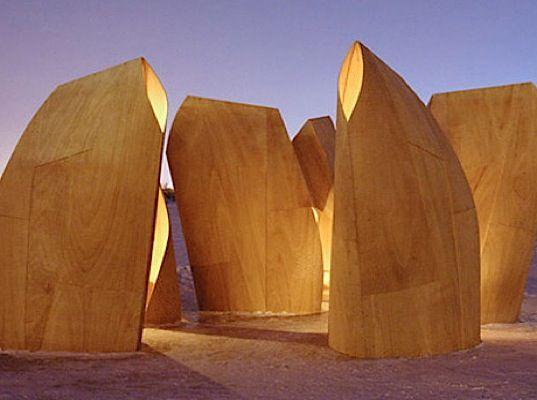 plywood ice skating shelters designed by Patkau Architects
