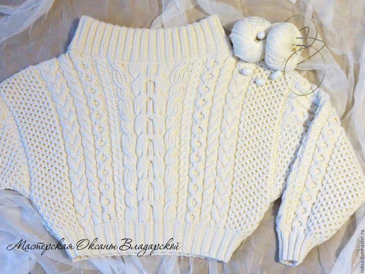 """Купить Вязаный свитер """"Роскошь шелка"""", свитер по мотивам Ruban - белый свитер, свитер на заказ"""