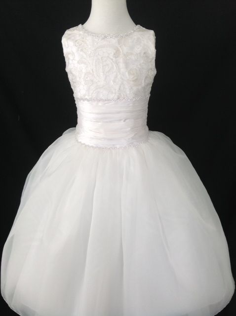 Diamond White Silk Lace First Communion Dress - Christie Helene Couture Communion Dress - Sasha - Designer First Holy Communion Dress UK Stockists -