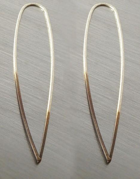 ombre geometric silver spear spike earrings - spike hoops