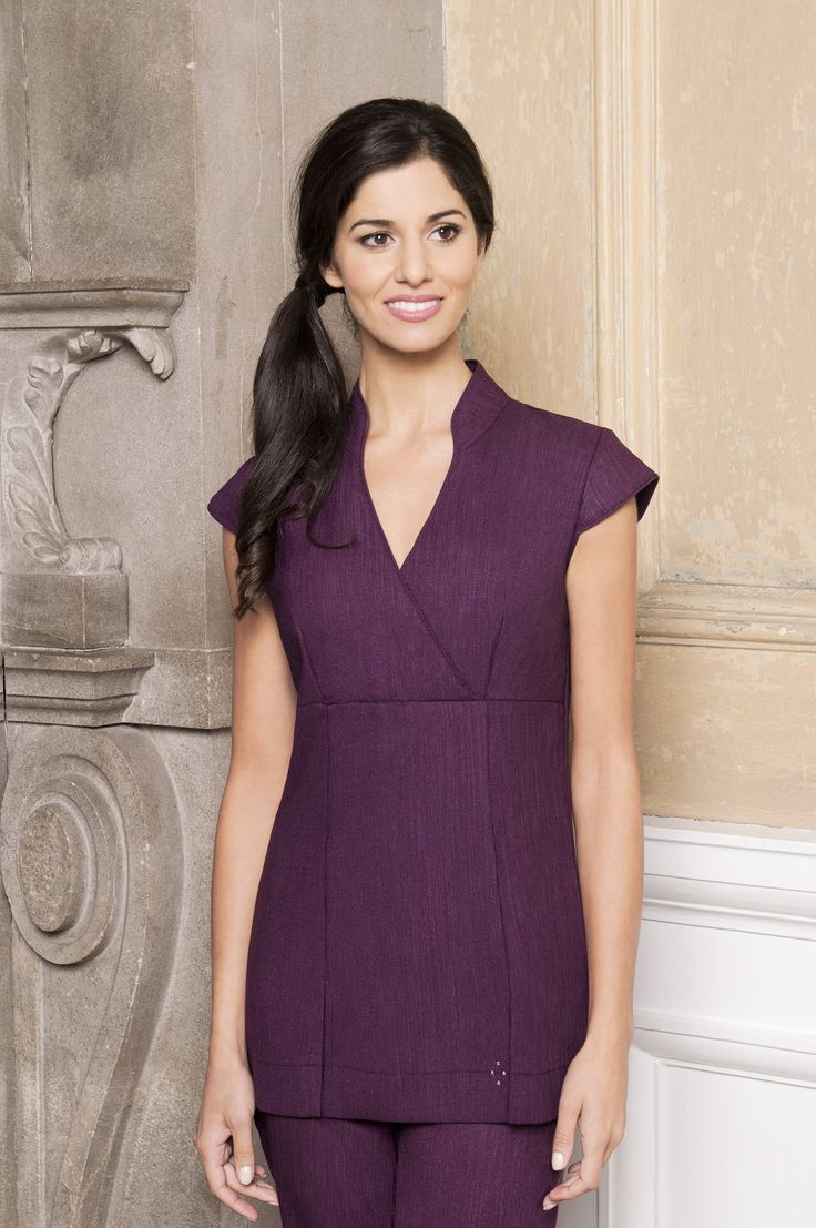 Purple Linen Look Spa Tunic by Diamond Designs Ireland