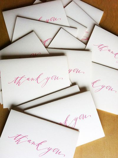 Simple calligraphy thank you cards wedding invitation