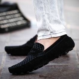 Black British Style Men's Casual Shoes With Suede and Checked Design