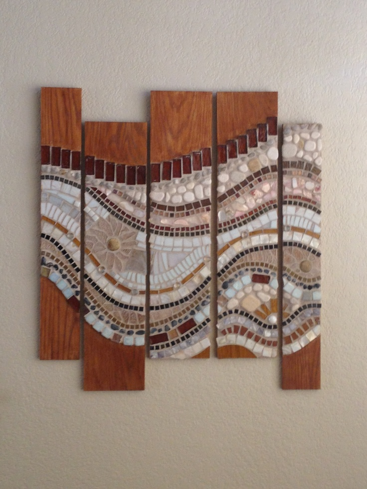 Pattern, texture and movement working together harmoniously - Mosaic on wood, May 2013