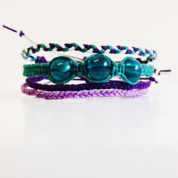 Set of Four Bracelets Macrame Bracelet Set by ThePlanetsBend