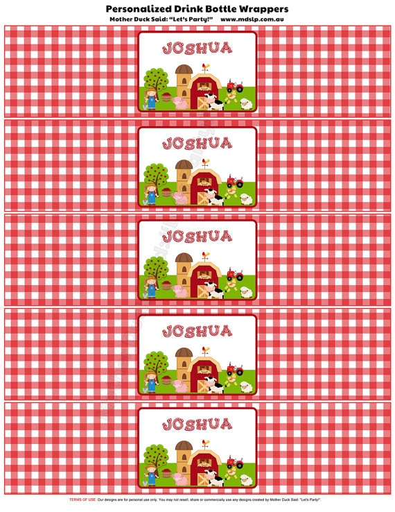Personalized Drink Bottle Wrappers from the Barnyard Farm Birthday Party Printables by motherducksaid on Etsy, $25.00