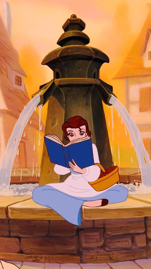 Belle reading by the fountain