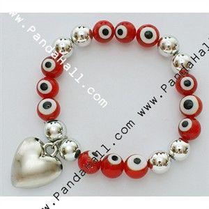 Handmade Italianate Lampwork Bracelets, Red, Heart CCB Acrylic Pendant