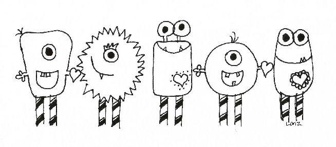 Sketch for Valentine Monster bulletin board idea.
