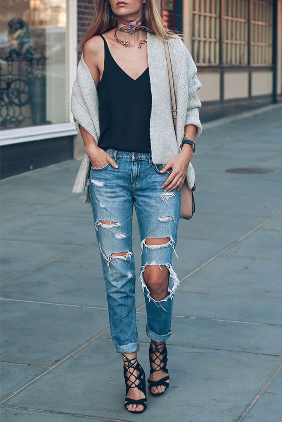 spring outfit, fall outfit, summer outfit, transitional outfit, casual outfit, night out outfit - Grey cardigan, black cami top, distressed boyfriend jeans, black lace up sandals, blush shoulder bag, colorful silk scarf