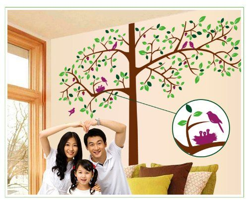 Wall Decals - YYone Birds on 77 Tall Tree Wall Sticker Wall Decal Decor Art -