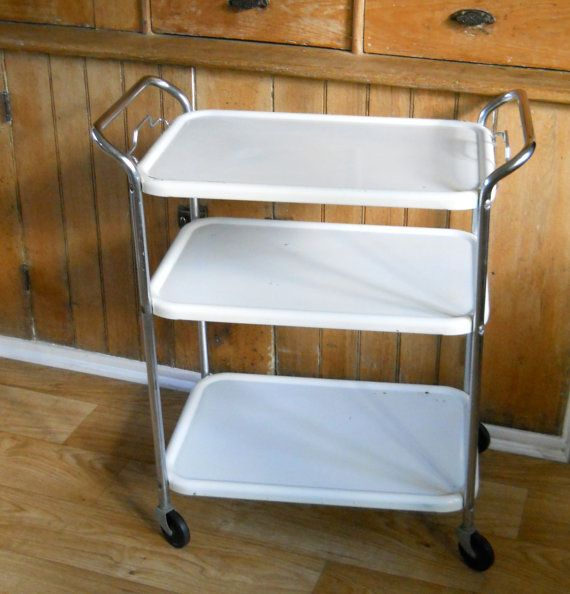 Cosco Chippy Red Metal Kitchen Cart Movable Painted Vintage: Vintage Rolling Metal Kitchen Cart Furniture