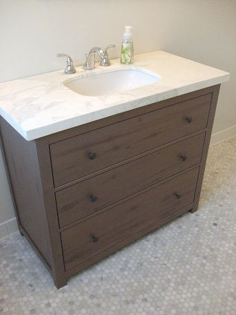 ikea hackers vanity from hemnes dresser super bargain compared to most readymade console sinks and better sturdy wood holds marble or