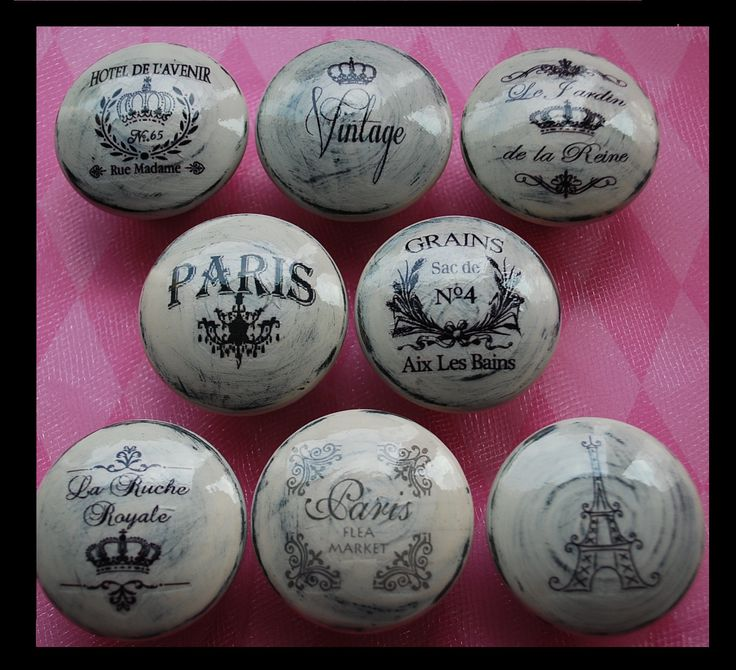NEW Vintage Drawer Knobs Pulls Paris France Shabby Chic Cottage French Provincial White Refinished Dresser Chandelier Crown Eiffel Tower. $39.00, via Etsy.