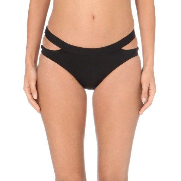 SEAFOLLY Fastlane cut-out bikini bottoms ($56) ❤ liked on Polyvore featuring swimwear, bikinis, bikini bottoms, black, black cut out bikini, black cutout bikini, cutout bikini bottom, bikini bottom swimwear and seafolly bikini