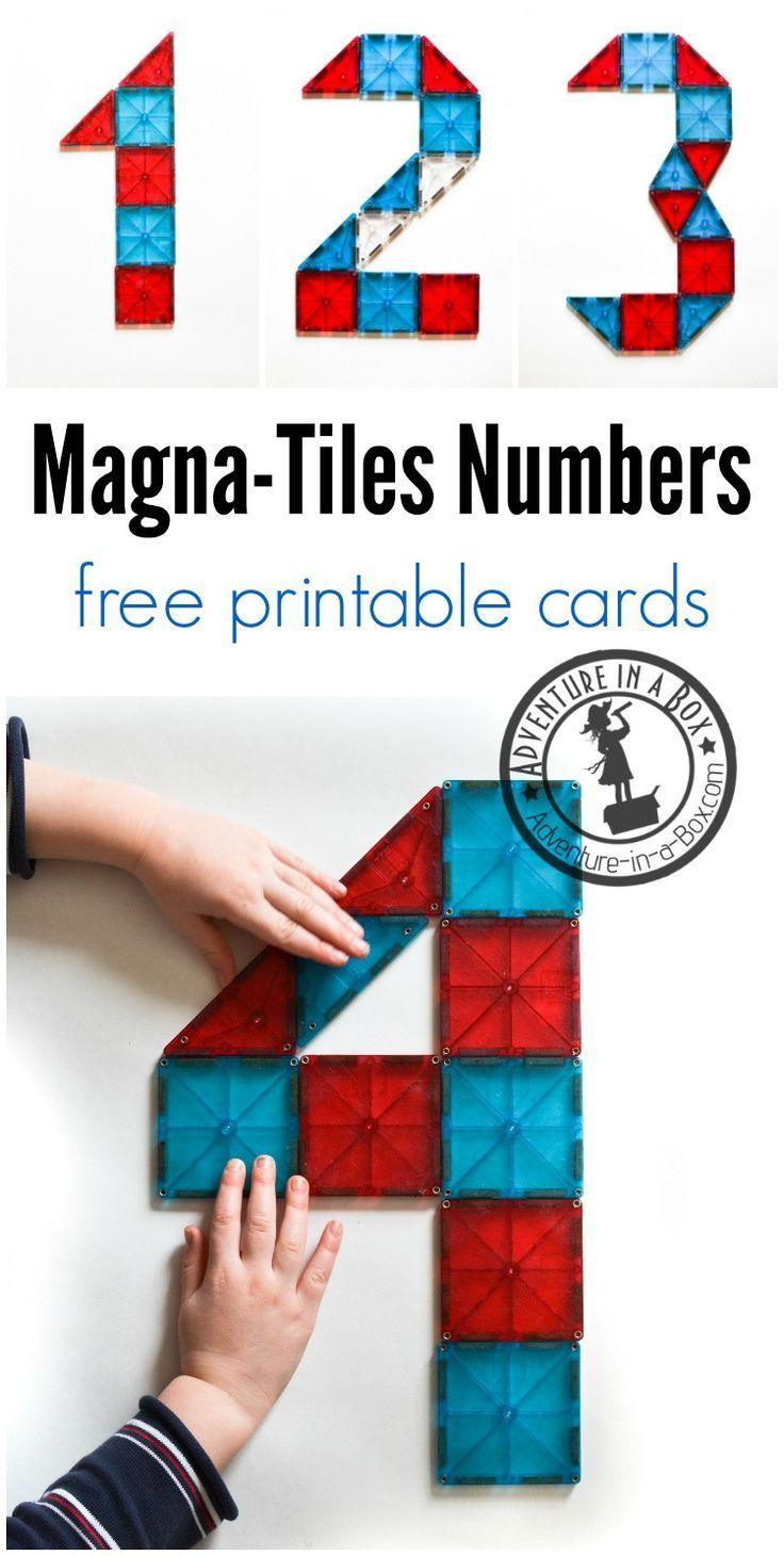 Teaching math to your preschooler? The free printable Magna-Tile inspiration cards are a great introduction to numbers for children who like to build.