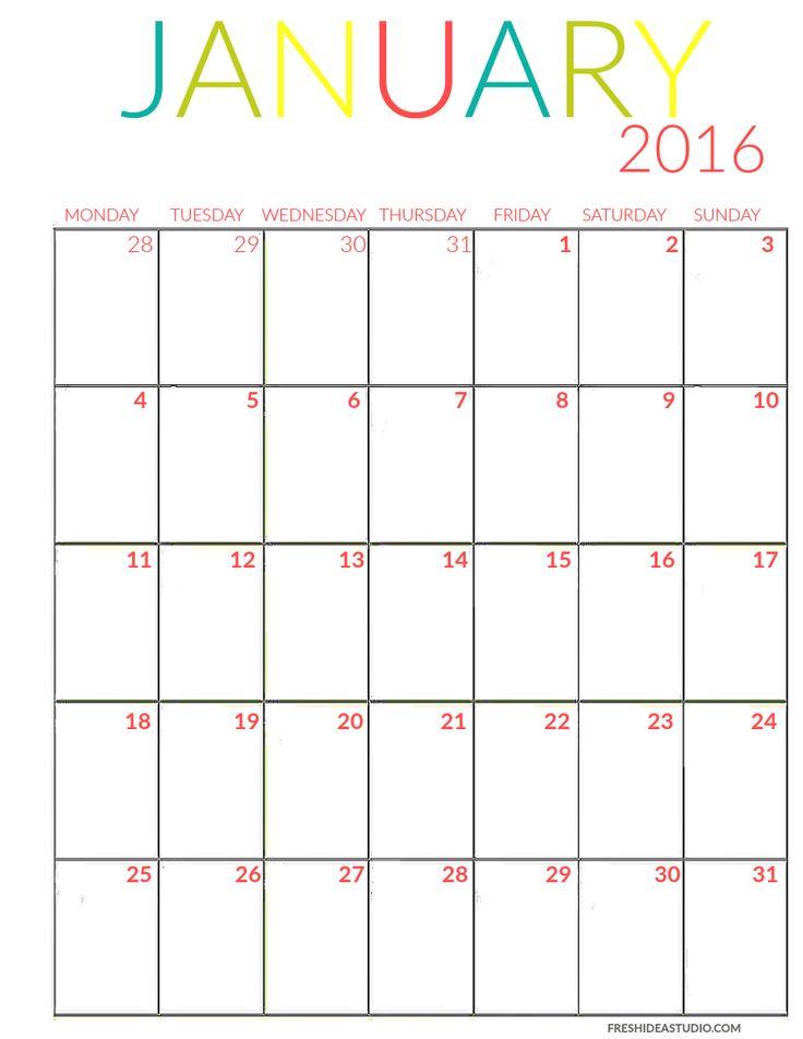 January Calendar color Printable
