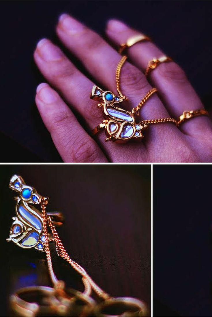 #peacocks #Kundan #midirings #jewelry #statement #bling #handcrafted #artisan #esfir